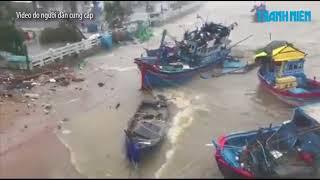Đây là hình ảnh Nha Trang trong bão số 12 Thuyền lật, nước ngập tràn vào nhà