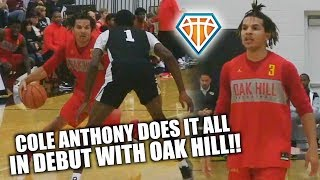 Cole Anthony GOES CRAZY IN OAK HILL DEBUT!! | #1 PG Almost Drops a Triple Double