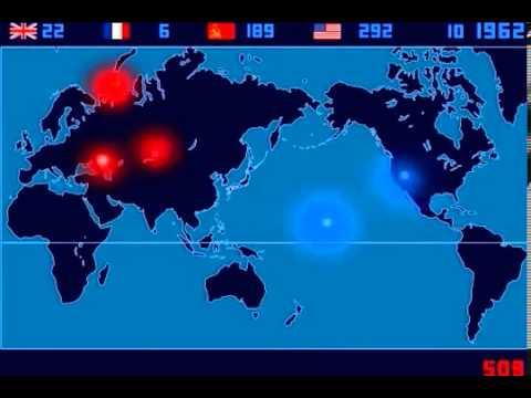 Карта ядерных взрывов в мире (1945-1998 гг.)