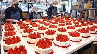 하루 150개씩 팔리는 케이크? 딸기폭탄 넣어주는 주문폭주 딸기케이크┃Strawberry cake mass making process - Korean street food