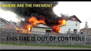 FULLY INVOLVED GARAGE FIRE SPREADS TO HOUSES! | Jason Asselin