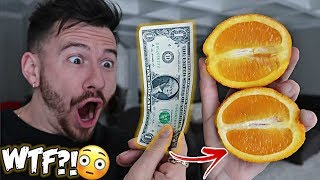 IMPOSSIBLE TRICK - HOW TO CUT AN ORANGE WITH A DOLLAR BILL! *TOP 5 BAR TRICK BETS YOU ALWAYS WIN*