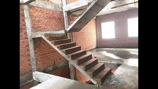 Kho Tư liệu Xây dựng - Cấu tạo phần thô cầu thang bản 2 vế cho nhà phố