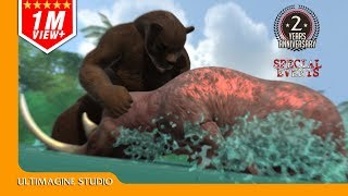 Woolly Rhinoceros VS Arctodus simus  : Dinosaurs Battle Special