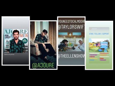 Adam Lambert's IG story: AjoureMenGermany/cameo in Taylorswift's MV for YouNeedToCalmDown 2019-06-17