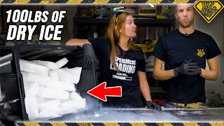 100 LBS of DRY ICE in Hot Water