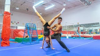TEACHING MY WIFE GYMNASTICS AT 3AM PART 2!