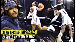 Jalen Lecque Jumps OVER Player w/ Carmelo Anthony Watching!! Brewster Shows OUT in NYC!!