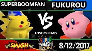 Smash Con 2017 Smash 64 - PG | SuperBoomFan (Pikachu) Vs. Fukurou (Kirby) Super Smash Bros. LS