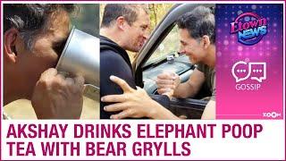 Actor Akshay Kumar drinks elephant poop tea with Bear Gryl..