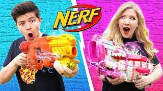 NERF GUN CHALLENGE Boy vs Girl (Learn How to Make Custom NERF Guns DIY Battle)