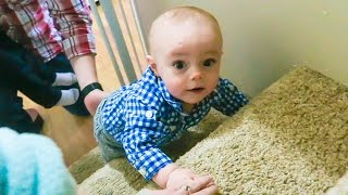BABY'S FIRST TIME CLIMBING STAIRS!