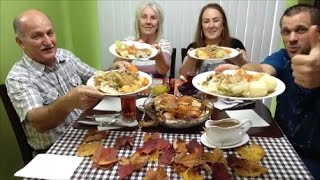 FAMILY MUKBANG | Eating Second Canadian Thanksgiving Dinner & Dessert