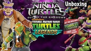 Unboxing TMNT Out of the Shadows Figures 2 Legends codes, Bebop & Rocksteady, Leo, Mikey