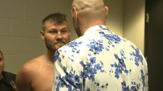 Amazing moment! Tyson Fury goes into Tom Schwarz's dressing room after knockout win