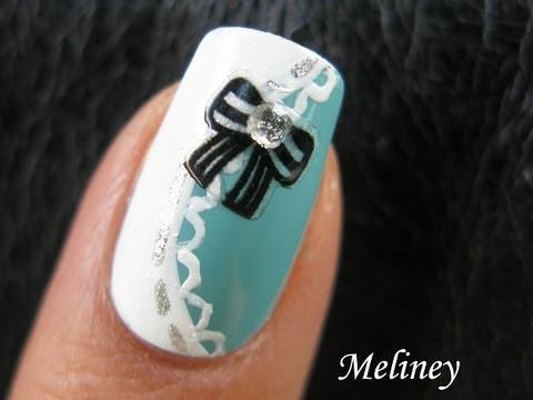 Tiffany Black Bow Sticker Naiis Cute Classy Pretty Lace Nail Art Design Tutorial Alice In