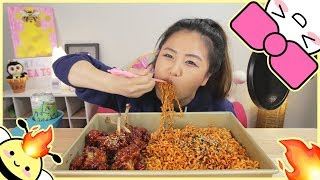 NUCLEAR FIRE NOODLES and KOREAN FRIED CHICKEN | MUKBANG