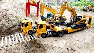 Đồ chơi trẻ em xe ô tô chở xe cần cẩu máy xúc đi qua cầu Excavator toys