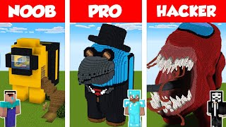 Minecraft NOOB vs PRO vs HACKER: AMONG US HOUSE BUILD CHALLENGE in Minecraft