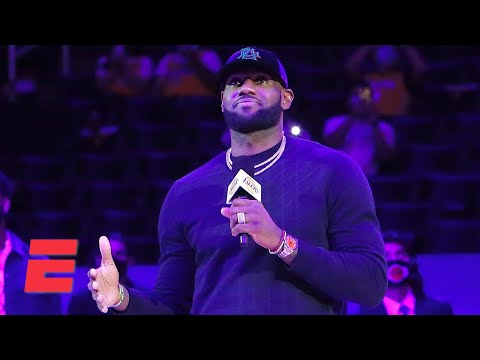 Reacting to LeBron addressing fans as the Lakers raise '20 championship banner | KJZ