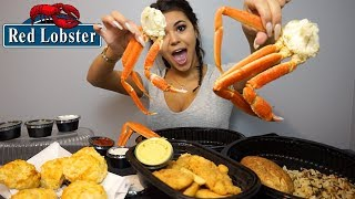 TRYING CRAB LEGS FOR THE FIRST TIME! Red Lobster Mukbang | Steph Pappas