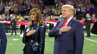 College football title game crowd cheers Trump