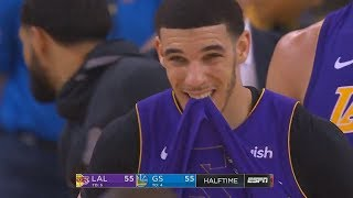 Lonzo Ball Buzzer Beater Putback Alley-Oop! Warriors vs Lakers