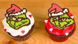 Grinch Christmas Cupcakes (Candy Melt Drawing) from Cookies Cupcakes and Cardio