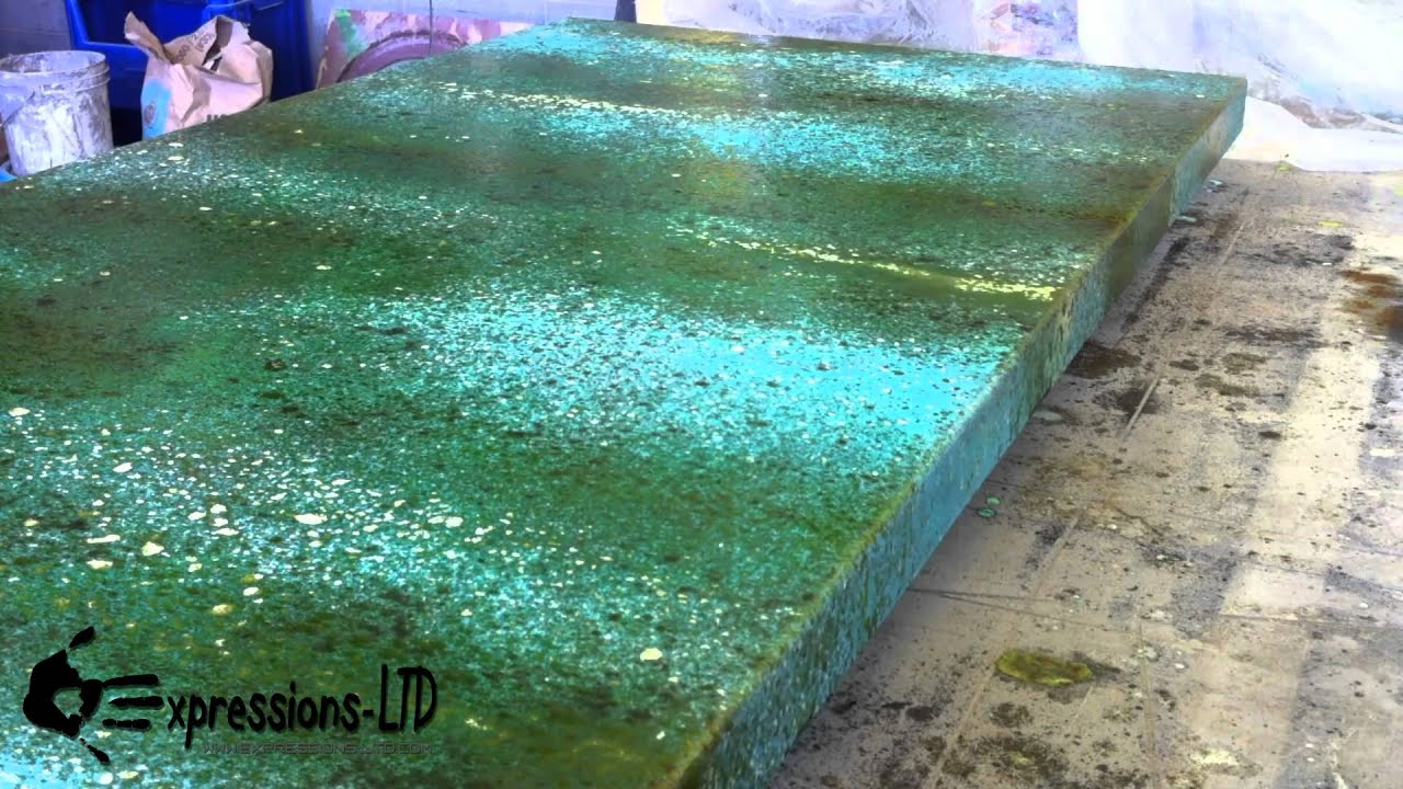 Acid Stain Concrete Countertop Turquoise And Rust Youtube