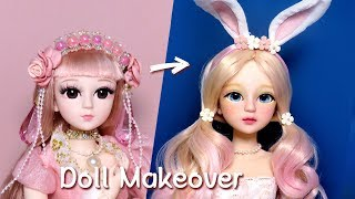 [Doll Repaint] ENG SUB 인형을 핑크빛에 사랑스러운 봄꽃 토끼 소녀로 꾸며줬어요- 60cm 관절 인형 리페인팅 /딩가의 회전목마 (DINGA)