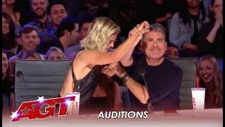 Simon Cowell TEACHES Julianne Hough How To Say NO and Hit Red! | America's Got Talent 2019