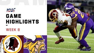 Redskins vs. Vikings Week 8 Highlights | NFL 2019