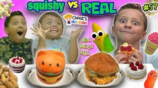 SQUISHY FOOD vs REAL FOOD Challenge! Chase's Corner #57 || DOH MUCH FUN