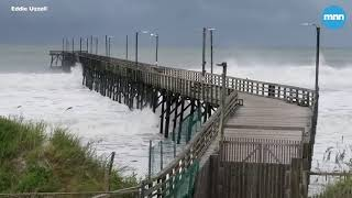 Waves slam into Seaview Pier in North Carolina as Hurricane Florence approaches