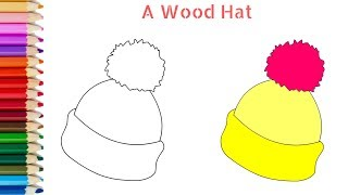 Drawing and Coloring a Wool hat for kids step by step