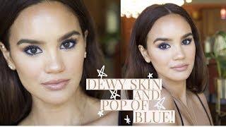 DEWY SKIN  & BRIGHT BLUE EYES MAKEUP TUTORIAL! | DACEY CASH