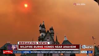 Wildfires in Anaheim, scenes of smoke can be seen from behind Disneyland