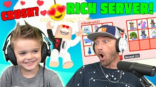 Did Colty Find His CRUSH Trading In This RICH SERVER?!! *Roblox Adopt Me Flex Server Trades*