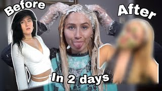 Black to blonde in 2 days! Bleaching my black box dyed hair at home 2021.😅