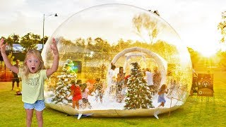6 Year Old Everleigh Spending 24 Hours Inside Real Life Snow Globe!!!