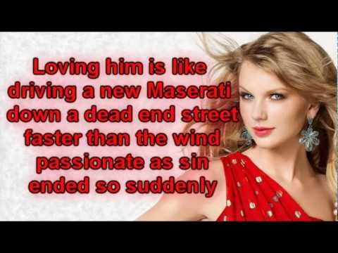 Taylor Swift - Red (Lyrics) Video