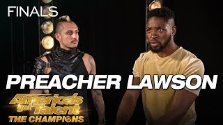 LOL! Preacher Lawson Attempts To Throw Knives At Deadly Games - America's Got Talent: The Champions