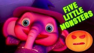 Cinco pequeños monstruos | halloween rimas | halloween monstruos | Five Little Monsters in English