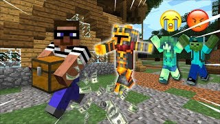 THIEF STEALS MARK OUR FRIENDLY ZOMBIE HOUSE BELONGINGS !! COPS AND ROBBERS !! Minecraft Mods