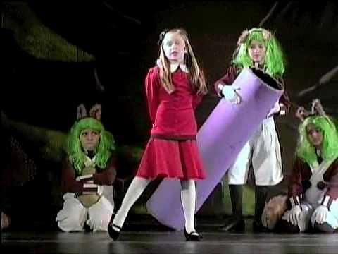 Annie Baltic (8) as Veruca in WILLY WONKA singing  I WANT IT NOW!