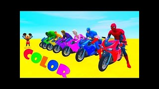 COLORS MOTORCYCLES AND PLANES w/ Superheroes Fun Animation for Kids, Children and Babies
