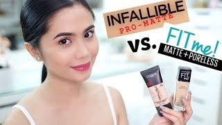 FOUNDATION FACE-OFF: L'OREAL Infallible Pro-matte vs. MAYBELLINE Fit Me Matte+Poreless | Anna Cay ♥