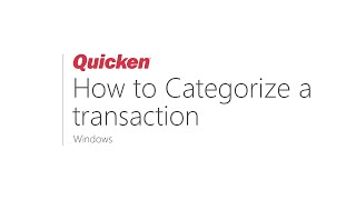 How to Categorize a transaction