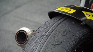 What happens when you mix a wet tyre & a dry track…