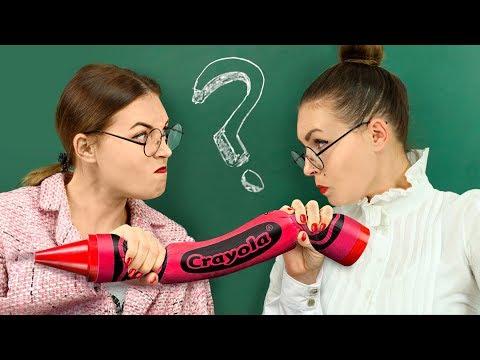10 Weird Ways To Sneak Giant Stress Relievers Into Class / Anti Stress School Supplies Challenge